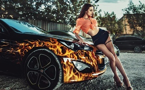 Picture fire, model, linen, brown hair, drives, cool car, Alla Berger