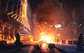 Picture winter, night, the city, lights, fire, Apocalypse, the fire, quarantine, Tom Clancy's, The Division