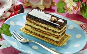 Picture chocolate, cake, layers, dessert, glaze