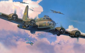 Picture figure, fighters, bombers, interception, fw-190, Flying fortress, Boeing B-17 Flying Fortress