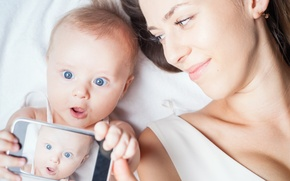 Picture baby, surprise, cellular smart, Happy Mother