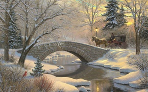 Picture river, winter, art, ate, lantern, river, forest, herringbone, bridge, Mark Keathley, snow, iridescent, forest, painting, ...