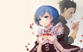 Picture background, anime, petals, art, two, Subaru, Re: Zero kara hajime chip isek or Seikatsu, REM