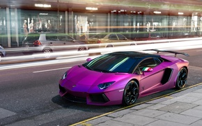 Picture purple, Lamborghini, car, Aventador, purple, Lamborghini, violet, LP760-4, Oakley Design