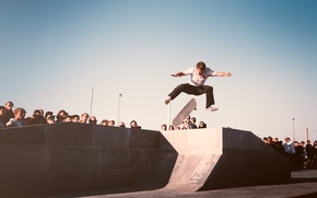 Picture the sky, people, jump, skateboard, skateboarder, extreme sports