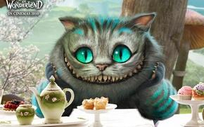 Wallpaper Alice in Wonderland, Dishes, Alice in Wonderland, Porcelain, Cheshire cat, Smile, Eyes