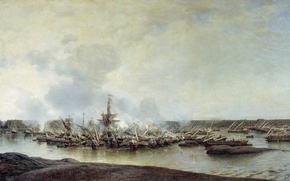 Picture oil, Alexey BOGOLYUBOV, (1824-1896), The battle of Gangut, On 27 July 1714, 1877. Canvas