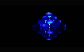Wallpaper blue, black background, rhombus, ellipses