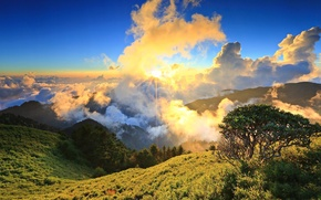 Picture the sky, the sun, clouds, mountains, the slopes