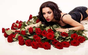 Picture girl, roses, makeup