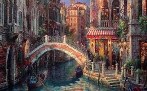 Picture bridge, people, street, home, picture, Italy, Venice, channel, steps, gondola, balconies, Cao Yong