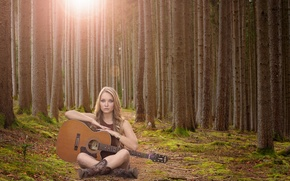 Picture forest, girl, guitar