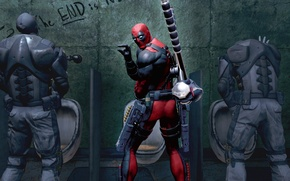 Picture weapons, Wade Wilson, antihero, toilet, Marvel, Deadpool, Deadpool: The Game