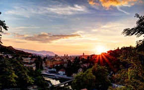 Wallpaper rays, bridge, mountains, home, trees, Bosnia and Herzegovina, Sarajevo, the sun, the sky, river, sunset