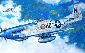 Picture figure, Mustang, dogfight, P-51D, fw-190