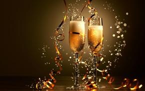 Picture glasses, champagne, ribbon