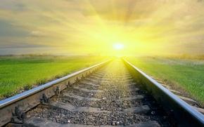 Picture the sun, railroad, bright