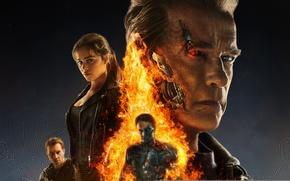 Picture fiction, fire, flame, poster, Arnold Schwarzenegger, Terminator, Emilia Clarke, Emilia Clarke, Arnold Schwarzenegger, Jai Courtney, …