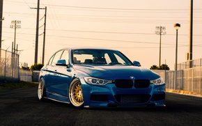 Picture blue, Sedan, F30, BMW, 3 Series
