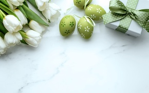 Picture gift, Easter, tulips, white, gift, Easter, Tulips, Eggs