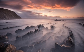 Picture beach, the sky, clouds, sunset, stones, rocks, spring, the evening, excerpt, Spain, March, Barrika