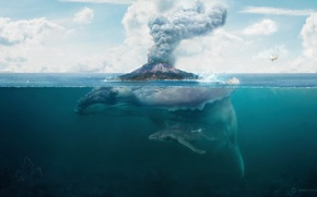 Picture fiction, island, the volcano, art, kit, desktopography, hq Wallpapers
