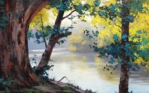 Wallpaper trees, nature, river, foliage, art, artsaus