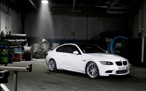 Picture white, darkness, tuning, garage, BMW, BMW, tuning, the front