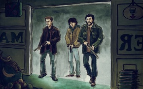 Picture art, Dean, hunters, Supernatural, Sam, John, venchestera