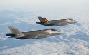 Picture The sky, Clouds, Flight, Height, Lightning, Lightning II, F-35, Generation, Fighter-bomber, Fifth