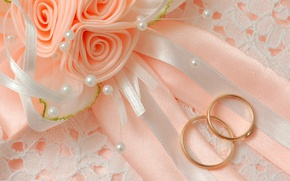 Wallpaper macro, flowers, bow, wedding, engagement rings