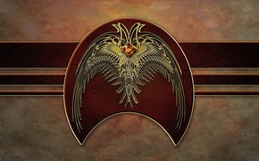 Picture wall, bird, wings, flag, Coat of arms