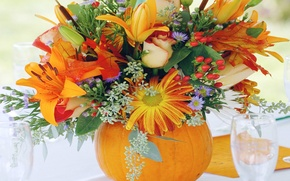 Picture flowers, glass, Lily, bouquet, pumpkin, still life