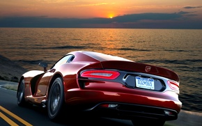 Picture Red, The evening, Speed, Dodge, Dodge, Red, Car, 2012, Car, Viper, Wallpapers, speed, GTS, Viper, ...