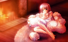 Wallpaper tenderness, the evening, fireplace, girl