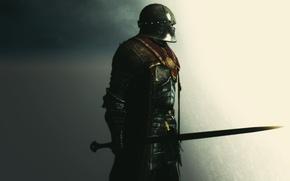 Picture rendering, background, sword, armor, warrior