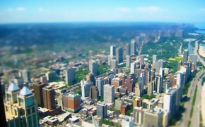 Wallpaper Tilt shift, skyscrapers, megapolis, tilt shift, perspective