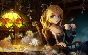 Picture girl, surprise, anime, drink, art, green eyes, vision, Takarl Ume
