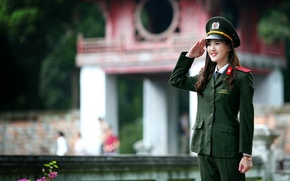 Picture girl, Asian, uniform