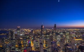 Picture the sky, stars, the city, lights, the moon, Chicago, Il, night