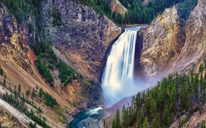 Picture trees, mountains, waterfall, stream, Yellowstone National Park, Lower Falls
