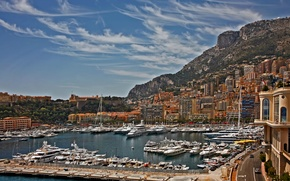 Picture the sky, mountains, home, yachts, boats, harbour, Monaco, Monte Carlo