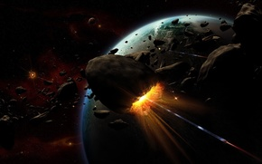 Wallpaper the explosion, planet, asteroids