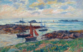 Picture picture, boat, Glenan Islands, shore, Finistere, Henri Moret, seascape, sail