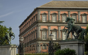 Picture fence, gate, Italy, lantern, sculpture, Naples, Royal Palace