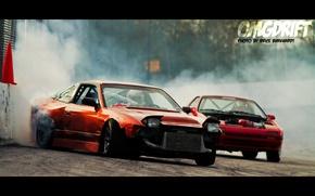 Picture red, tuning, smoke, nissan, drift, 200sx, 240sx, 180sx, Nissan 240sx