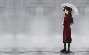 Picture rain, umbrella, Fate/stay night, rin tohsaka, Tohsaka Rin