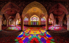 Picture light, pattern, carpet, color, columns, stained glass, hall