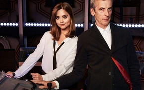 Picture look, girl, lights, smile, panel, actress, button, costume, tie, actor, blouse, male, Doctor Who, console, …