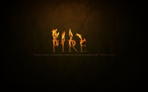 Picture fire, the inscription, black background